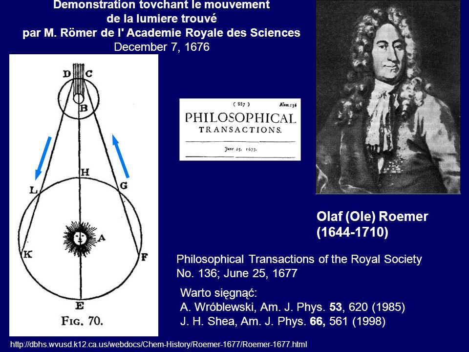 Eksperyment Fizeau (1849) L = 8633 m m = 720 zębów Pierwsza ciemność: n = 12.86 obrotów/s c = 315300 km/s A.