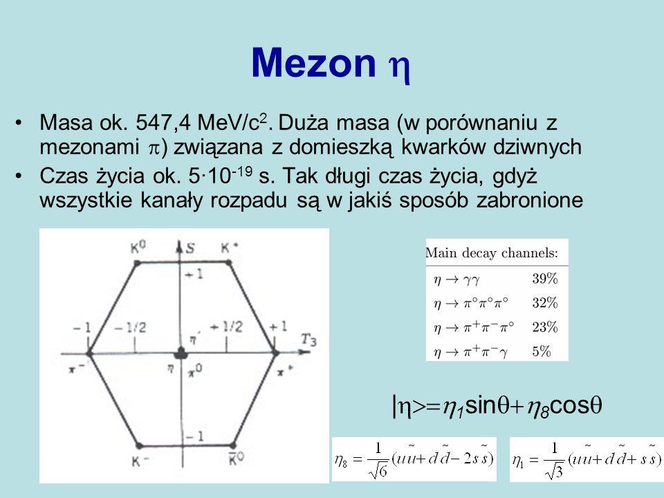 Mezon Masa ok. 547,4 MeV/c 2. Duża masa (w porównaniu z mezonami ) związana z domieszką kwarków dziwnych Czas życia ok. 5·10 -19 s. Tak długi czas życ