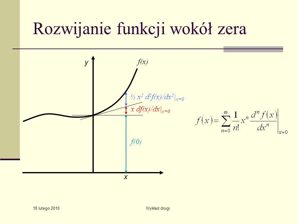 18 lutego 2010 Wykład drugi Rozwijanie funkcji wokół zera y x x df(x)/dx| x=0 ½ x 2 d 2 f(x)/dx 2 | x=0 f(0) f(x)