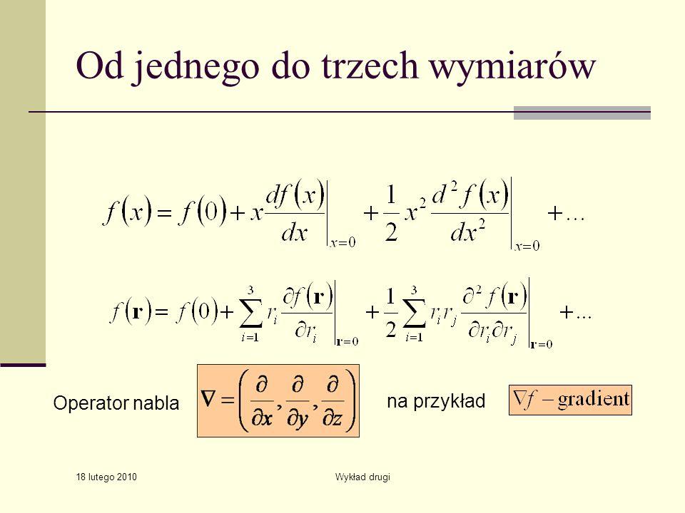 18 lutego 2010 Wykład drugi Od jednego do trzech wymiarów Operator nabla na przykład