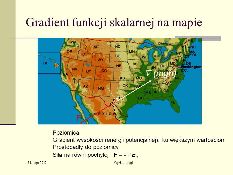 18 lutego 2010 Wykład drugi Gradient funkcji skalarnej na mapie Gradient wysokości (energii potencjalnej): ku większym wartościom Prostopadły do poziomicy Poziomica Siła na równi pochyłej F = - E p (mgh) F