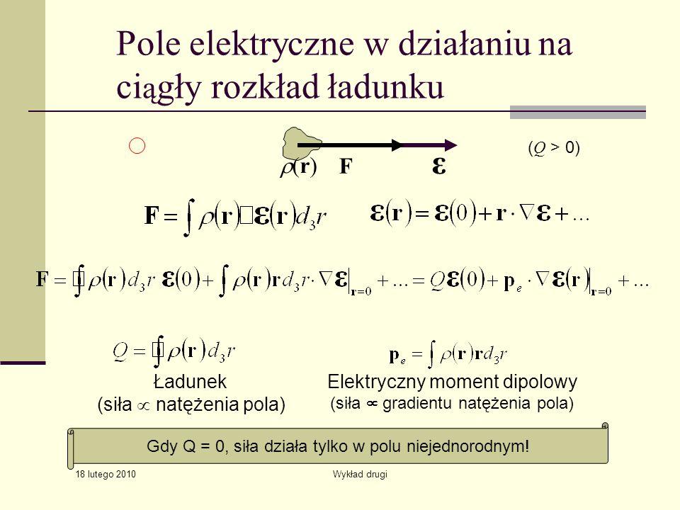 18 lutego 2010 Wykład drugi Pole elektryczne w działaniu na ci ą gły rozkład ładunku (r) F ε ( Q > 0) Elektryczny moment dipolowy (siła gradientu natę