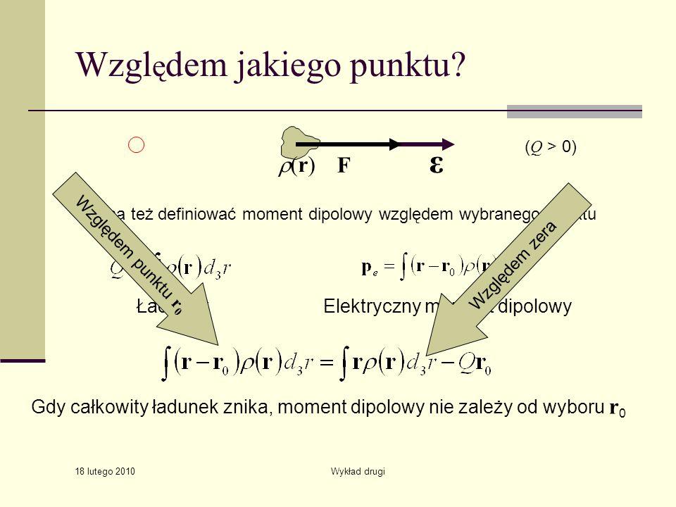 18 lutego 2010 Wykład drugi Wzgl ę dem jakiego punktu? ( Q > 0) Elektryczny moment dipolowyŁadunek ε (r) F Można też definiować moment dipolowy względ