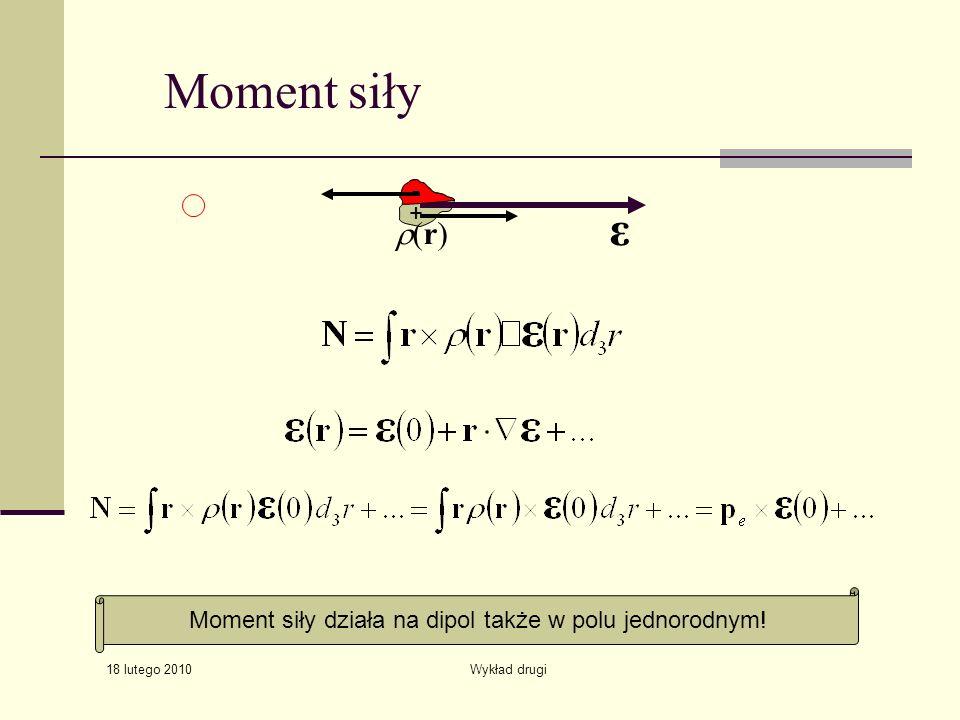 18 lutego 2010 Wykład drugi ε Moment siły (r) Moment siły działa na dipol także w polu jednorodnym! + -