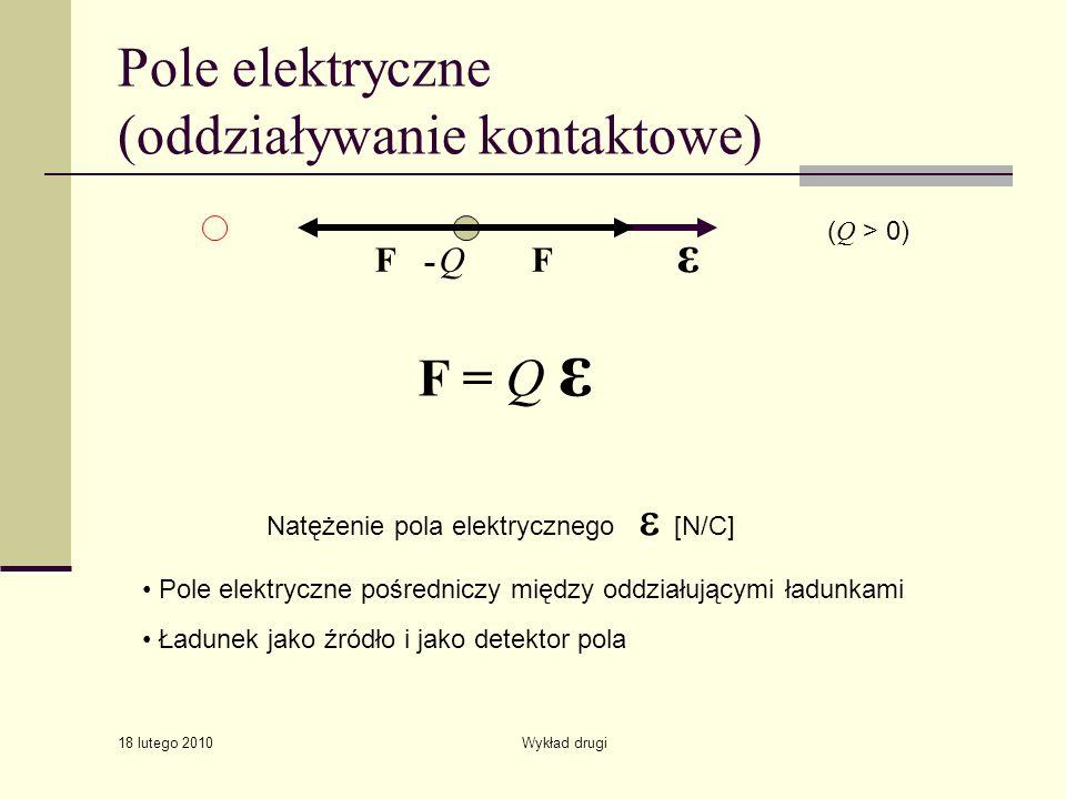 18 lutego 2010 Wykład drugi Pole elektryczne (oddziaływanie kontaktowe) QF F = Q ε ε - F ( Q > 0) Natężenie pola elektrycznego [N/C] Pole elektryczne pośredniczy między oddziałującymi ładunkami Ładunek jako źródło i jako detektor pola