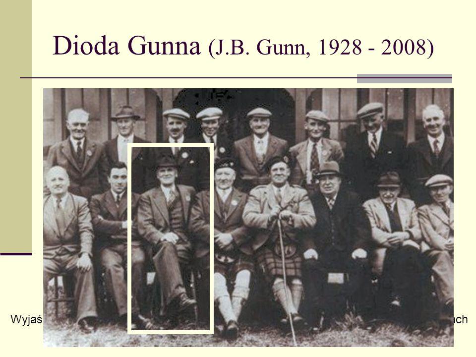 Dioda Gunna (J.B. Gunn, 1928 - 2008) www.st-andrews.ac.uk/ Wyjaśnienie: masa efektywna elektronów w arsenku galu rośnie przy dużych energiach 1963