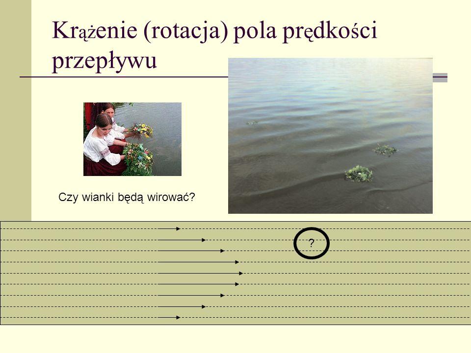 Kr ąż enie (rotacja) pola pr ę dko ś ci przepływu Czy wianki będą wirować? ?