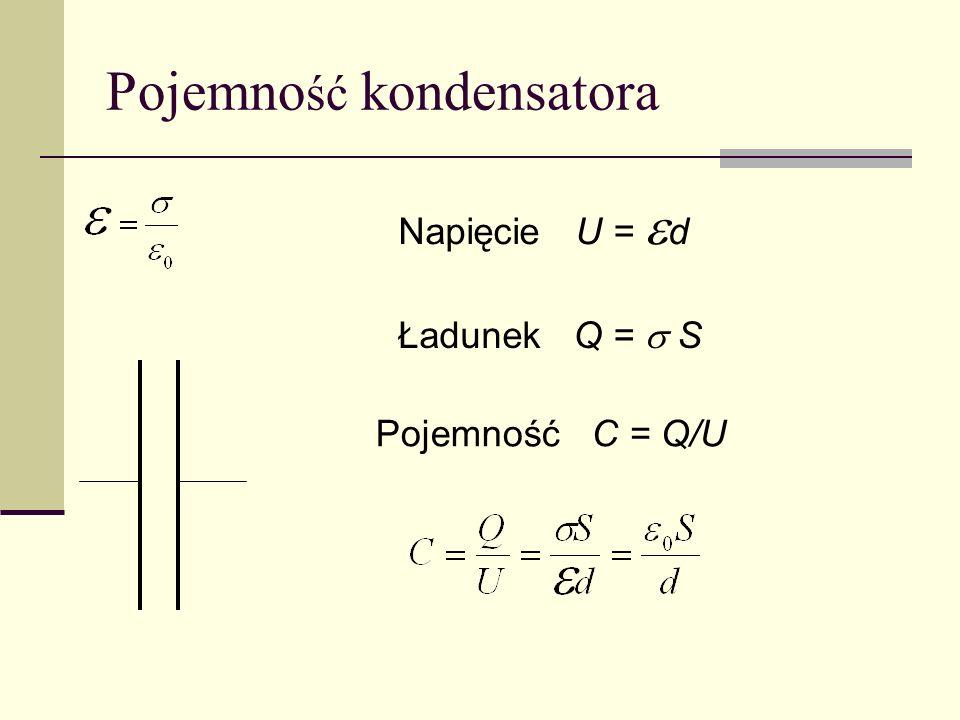 Pojemno ść kondensatora Napięcie U = d Ładunek Q = S Pojemność C = Q/U