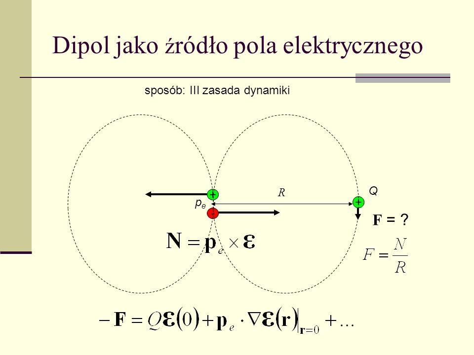 + - + Q pepe sposób: III zasada dynamiki F = ? R