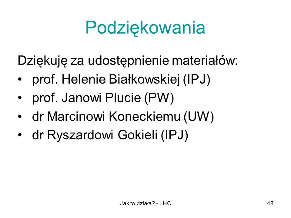 Jak to działa? - LHC48 Podziękowania Dziękuję za udostępnienie materiałów: prof. Helenie Białkowskiej (IPJ) prof. Janowi Plucie (PW) dr Marcinowi Kone