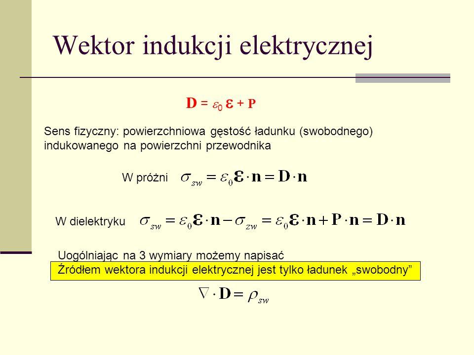 Wektor indukcji elektrycznej Sens fizyczny: powierzchniowa gęstość ładunku (swobodnego) indukowanego na powierzchni przewodnika W próżni W dielektryku