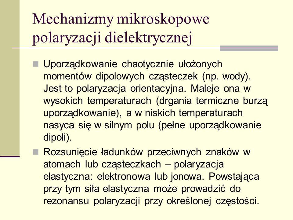 Mechanizmy mikroskopowe polaryzacji dielektrycznej Uporządkowanie chaotycznie ułożonych momentów dipolowych cząsteczek (np. wody). Jest to polaryzacja