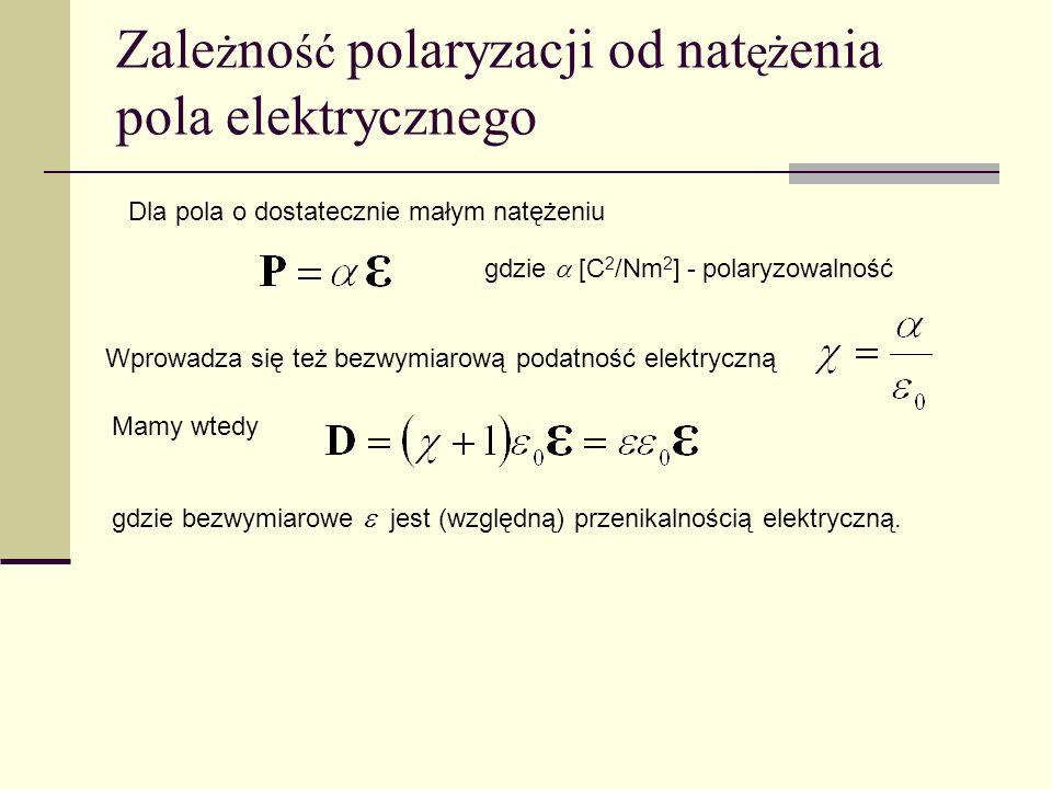 Zale ż no ść polaryzacji od nat ęż enia pola elektrycznego Dla pola o dostatecznie małym natężeniu gdzie [C 2 /Nm 2 ] - polaryzowalność Wprowadza się