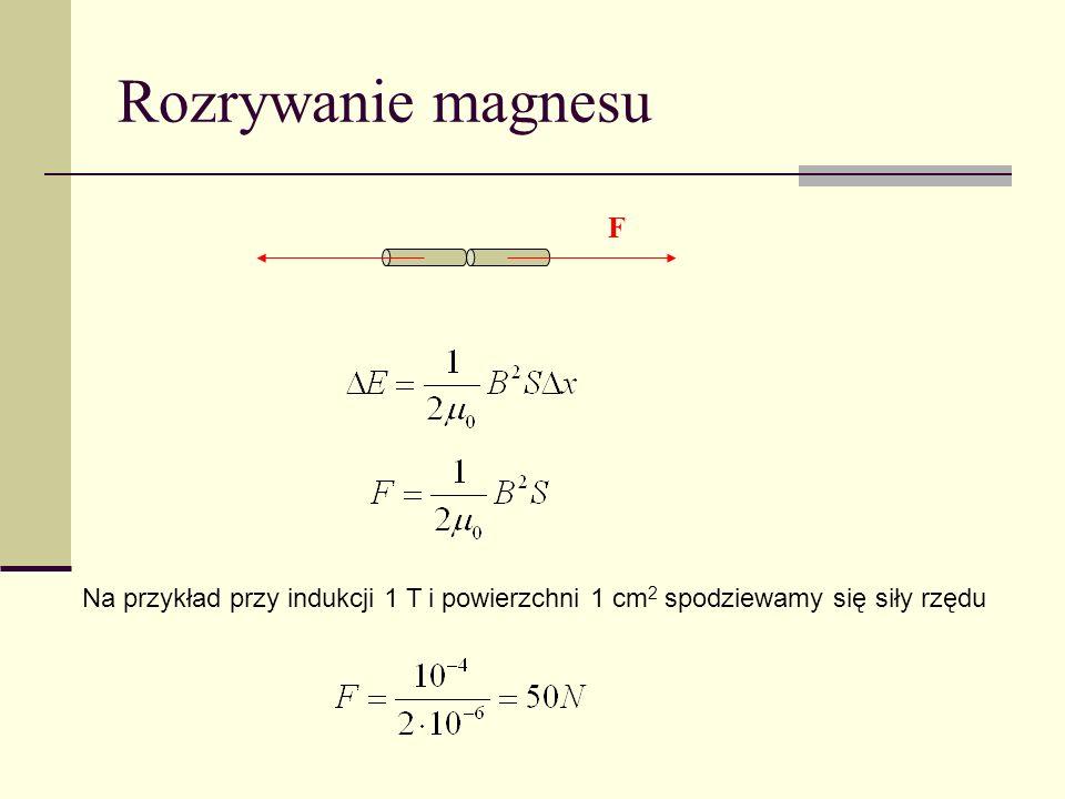 Rozrywanie magnesu F Na przykład przy indukcji 1 T i powierzchni 1 cm 2 spodziewamy się siły rzędu