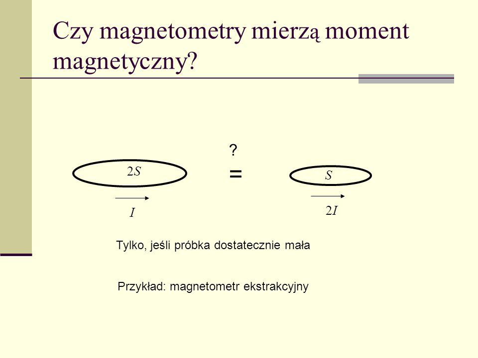 Czy magnetometry mierz ą moment magnetyczny? I 2S2S 2I2I S ?=?= Tylko, jeśli próbka dostatecznie mała Przykład: magnetometr ekstrakcyjny