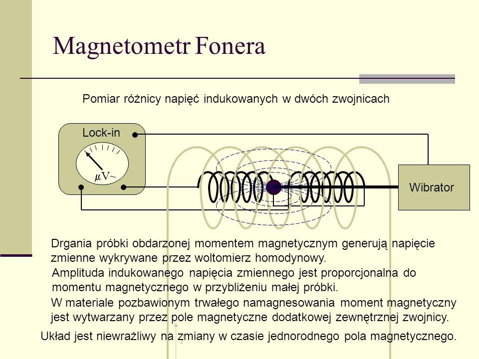 Magnetometr Fonera V~ Pomiar różnicy napięć indukowanych w dwóch zwojnicach Drgania próbki obdarzonej momentem magnetycznym generują napięcie zmienne