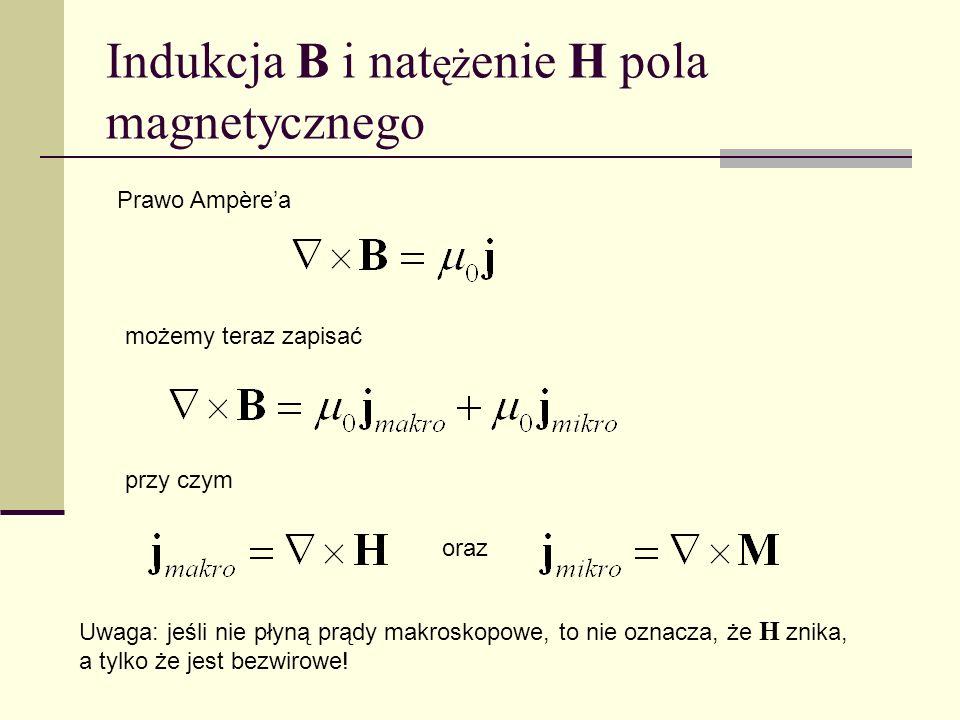 Indukcja B i nat ęż enie H pola magnetycznego Prawo Ampèrea możemy teraz zapisać przy czym oraz Uwaga: jeśli nie płyną prądy makroskopowe, to nie ozna