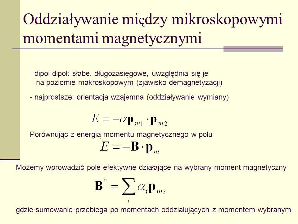 Oddziaływanie mi ę dzy mikroskopowymi momentami magnetycznymi - dipol-dipol: słabe, długozasięgowe, uwzględnia się je na poziomie makroskopowym (zjawi