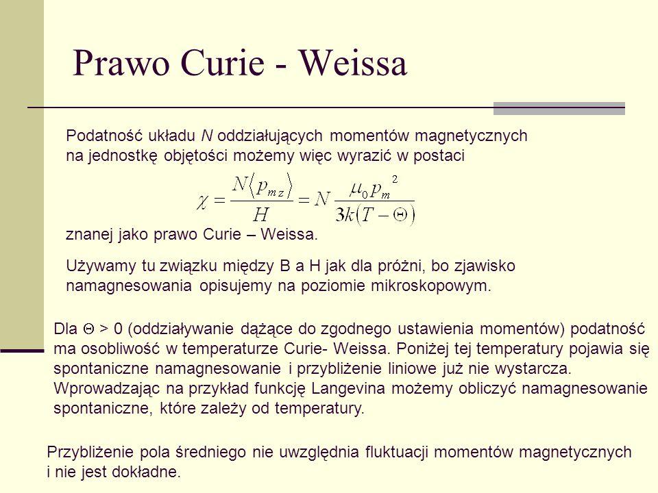 Prawo Curie - Weissa Podatność układu N oddziałujących momentów magnetycznych na jednostkę objętości możemy więc wyrazić w postaci znanej jako prawo C