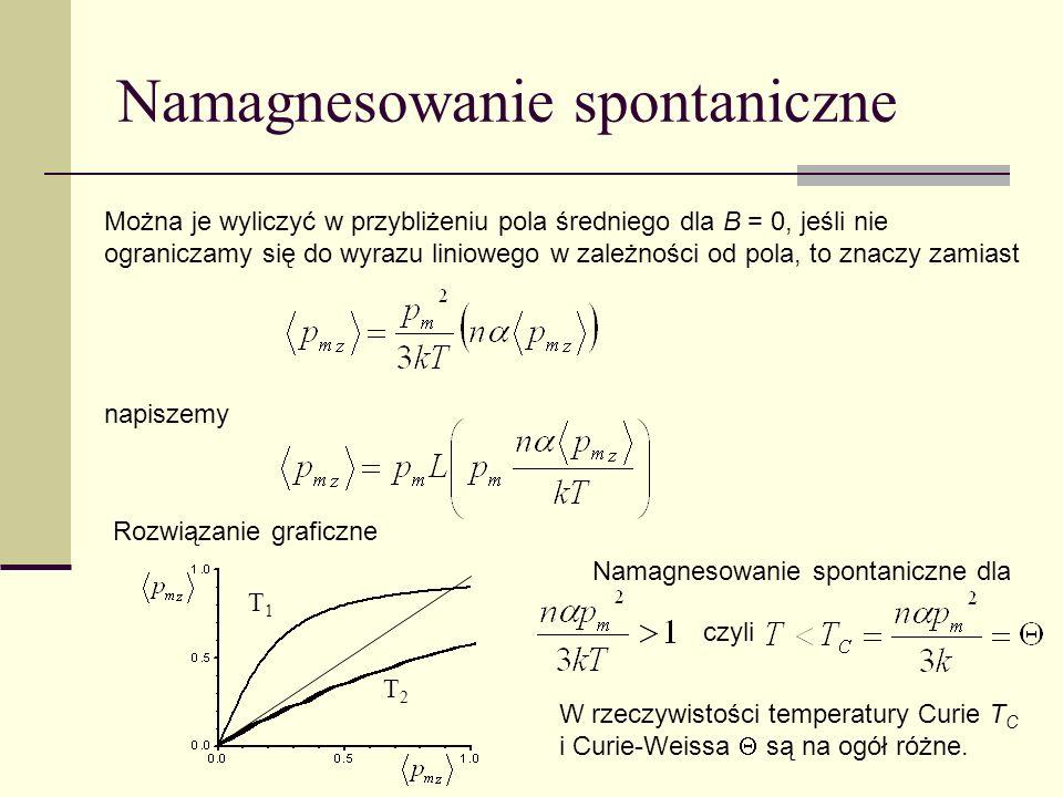 T2T2 Namagnesowanie spontaniczne Można je wyliczyć w przybliżeniu pola średniego dla B = 0, jeśli nie ograniczamy się do wyrazu liniowego w zależności