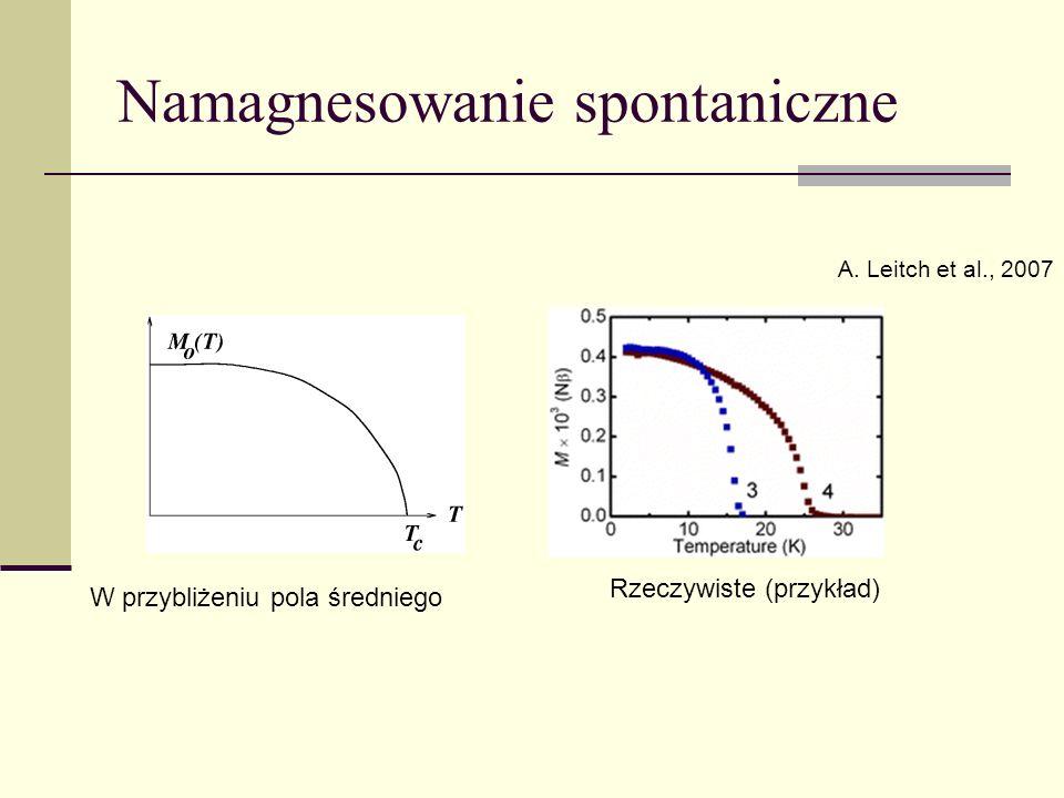 Namagnesowanie spontaniczne A. Leitch et al., 2007 W przybliżeniu pola średniego Rzeczywiste (przykład)