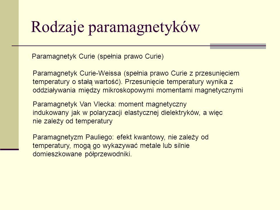 Rodzaje paramagnetyków Paramagnetyk Van Vlecka: moment magnetyczny indukowany jak w polaryzacji elastycznej dielektryków, a więc nie zależy od tempera
