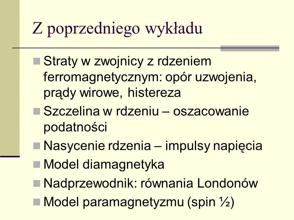 Z poprzedniego wykładu Straty w zwojnicy z rdzeniem ferromagnetycznym: opór uzwojenia, prądy wirowe, histereza Szczelina w rdzeniu – oszacowanie podat