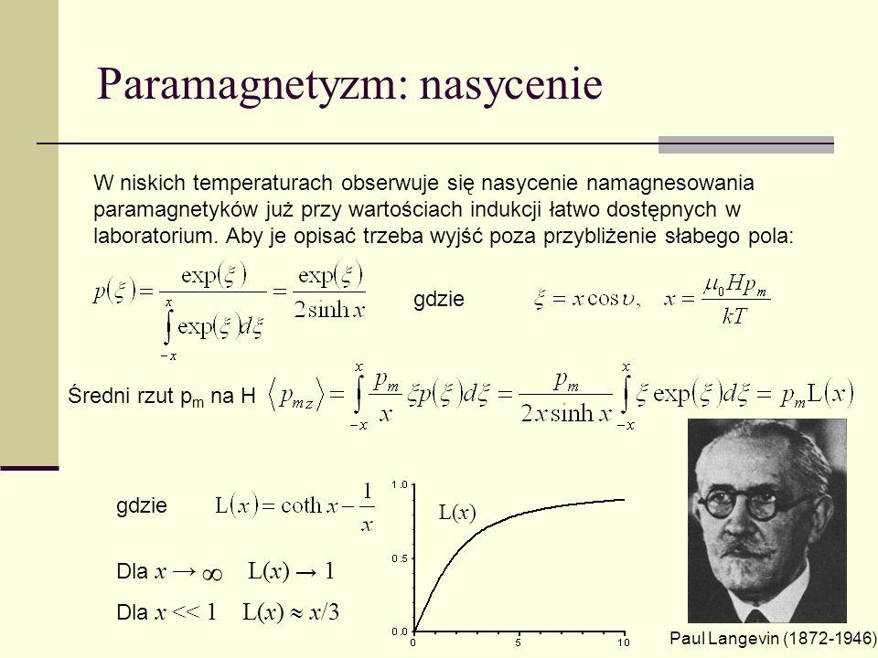 Paramagnetyzm: nasycenie W niskich temperaturach obserwuje się nasycenie namagnesowania paramagnetyków już przy wartościach indukcji łatwo dostępnych