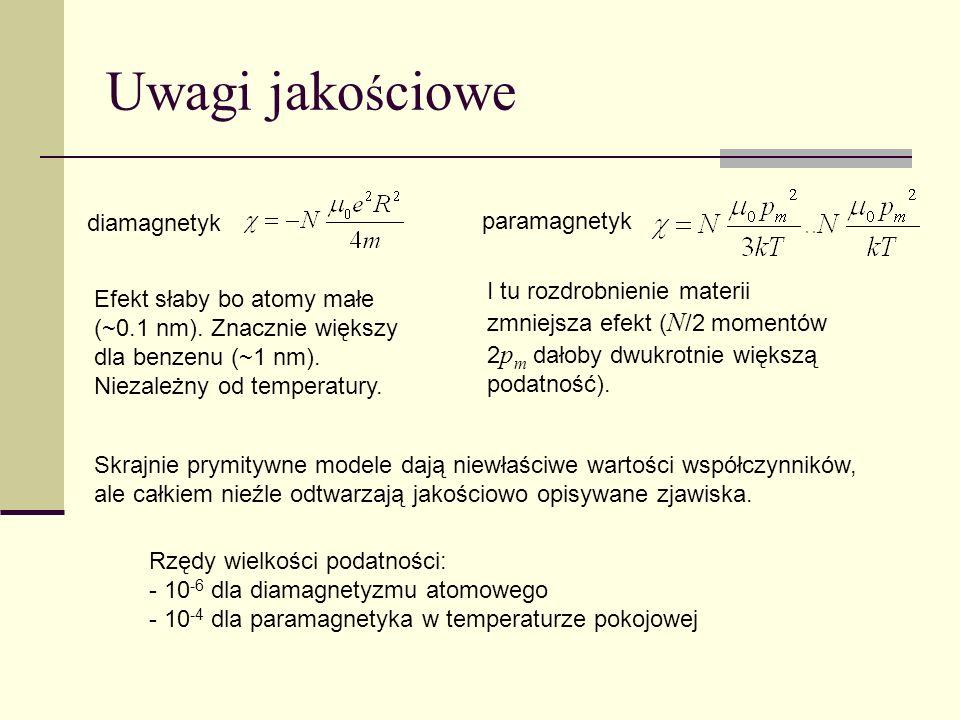 Oddziaływanie mi ę dzy mikroskopowymi momentami magnetycznymi - dipol-dipol: słabe, długozasięgowe, uwzględnia się je na poziomie makroskopowym (zjawisko demagnetyzacji) - najprostsze: orientacja wzajemna (oddziaływanie wymiany) Porównując z energią momentu magnetycznego w polu Możemy wprowadzić pole efektywne działające na wybrany moment magnetyczny gdzie sumowanie przebiega po momentach oddziałujących z momentem wybranym