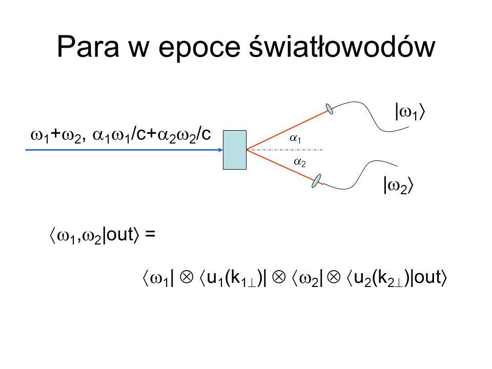 Para w epoce światłowodów 1, 2 |out = | 1 | 2 1 + 2, 1 1 /c+ 2 2 /c 1 2 1 | u 1 (k 1 )| 2 | u 2 (k 2 )|out
