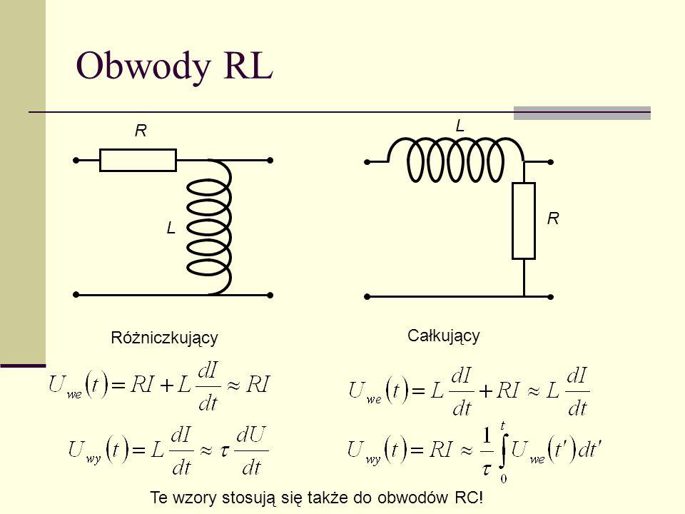 Obwody RL R R L L Różniczkujący Całkujący Te wzory stosują się także do obwodów RC!