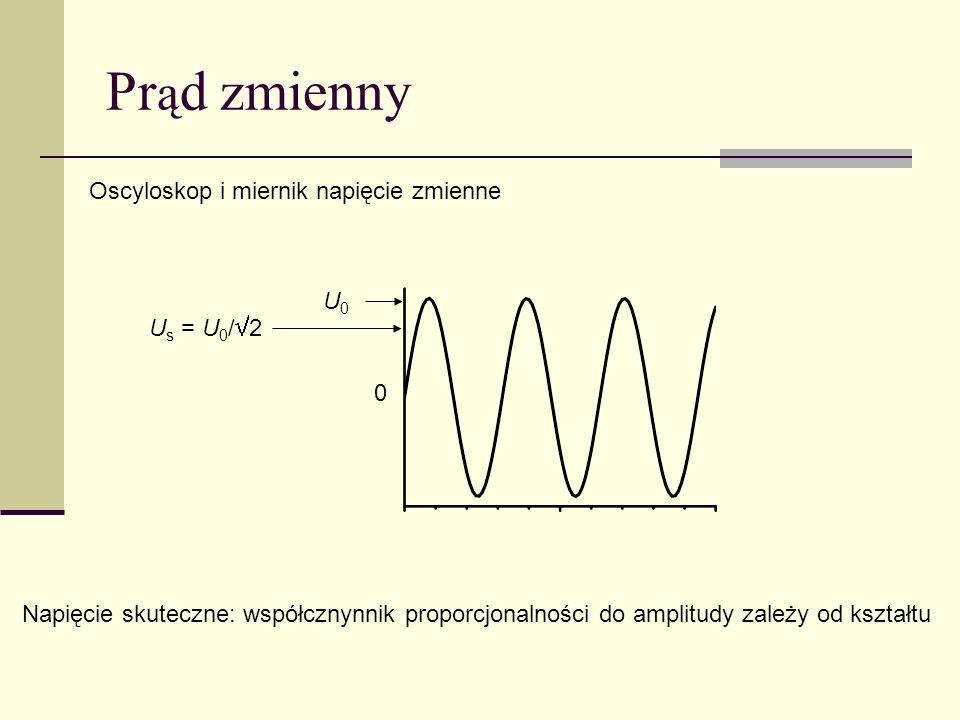 Pr ą d zmienny Oscyloskop i miernik napięcie zmienne Napięcie skuteczne: współcznynnik proporcjonalności do amplitudy zależy od kształtu 0 U0U0 U s =