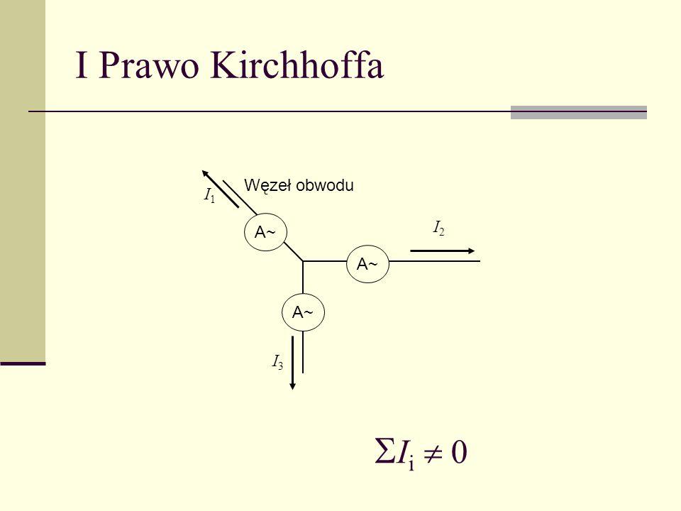 I Prawo Kirchhoffa Węzeł obwodu I3I3 A~ I i 0 I1I1 I2I2