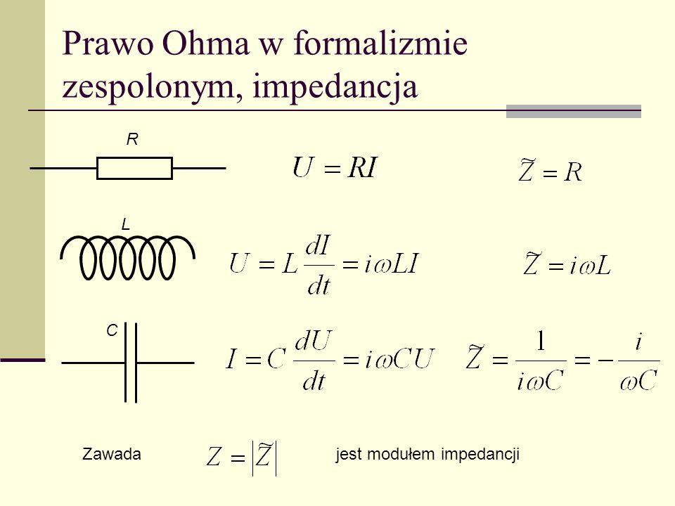 Prawo Ohma w formalizmie zespolonym, impedancja C L R Zawadajest modułem impedancji