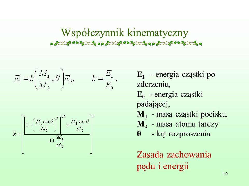 10 Współczynnik kinematyczny E 1 - energia cząstki po zderzeniu, E 0 - energia cząstki padającej, M 1 - masa cząstki pocisku, M 2 - masa atomu tarczy θ - kąt rozproszenia Zasada zachowania pędu i energii