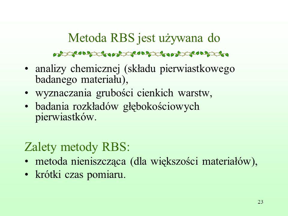 23 Metoda RBS jest używana do analizy chemicznej (składu pierwiastkowego badanego materiału), wyznaczania grubości cienkich warstw, badania rozkładów głębokościowych pierwiastków.