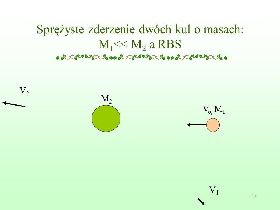 7 Sprężyste zderzenie dwóch kul o masach: M 1 << M 2 a RBS V o, M 1 V2V2 V1V1 M2M2