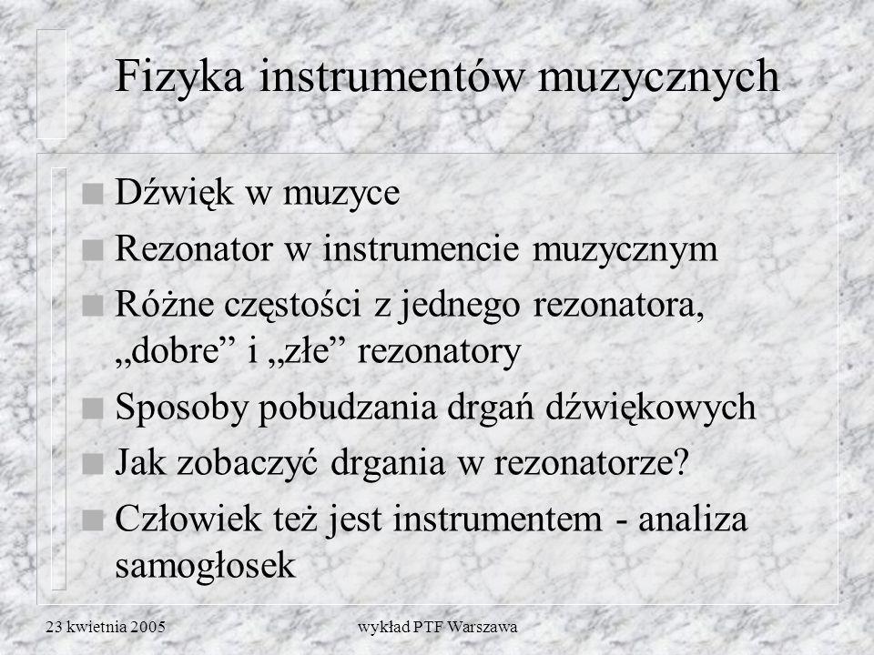 23 kwietnia 2005wykład PTF Warszawa Wiele częstości w jednym rezonatorze n Słup powietrza - kolejne wielokrotności częstości podstawowej n Struna - tak samo n Pręt.