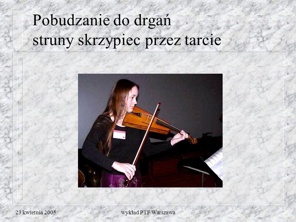 23 kwietnia 2005wykład PTF Warszawa Pobudzanie do drgań struny skrzypiec przez tarcie