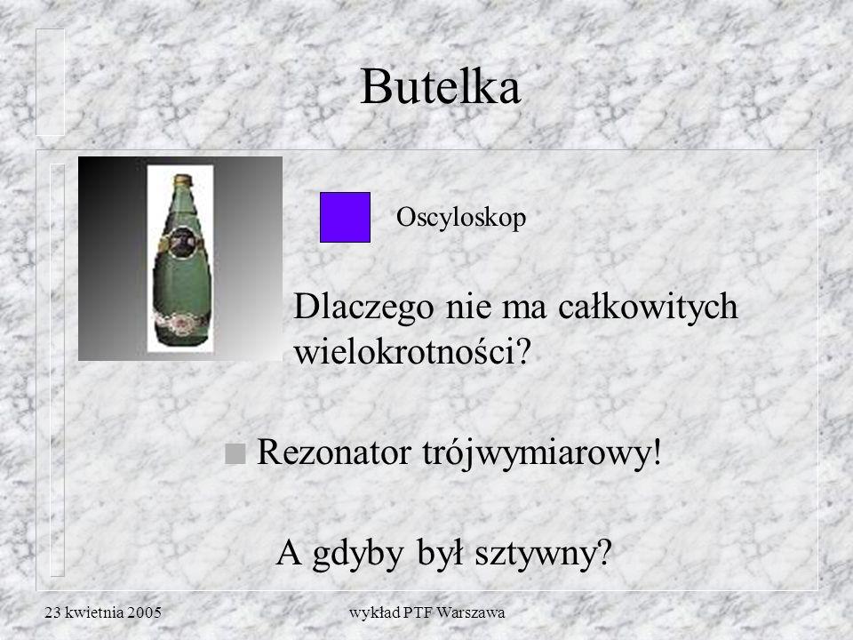 23 kwietnia 2005wykład PTF Warszawa n Oscyloskop Butelka Dlaczego nie ma całkowitych wielokrotności? n Rezonator trójwymiarowy! A gdyby był sztywny?