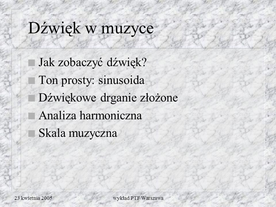 23 kwietnia 2005wykład PTF Warszawa Dźwięk w muzyce n Jak zobaczyć dźwięk? n Ton prosty: sinusoida n Dźwiękowe drganie złożone n Analiza harmoniczna n