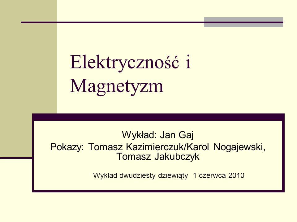 Elektryczno ść i Magnetyzm Wykład: Jan Gaj Pokazy: Tomasz Kazimierczuk/Karol Nogajewski, Tomasz Jakubczyk Wykład dwudziesty dziewiąty 1 czerwca 2010