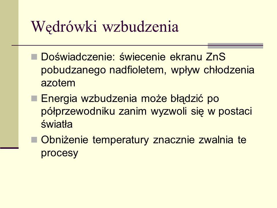 W ę drówki wzbudzenia Doświadczenie: świecenie ekranu ZnS pobudzanego nadfioletem, wpływ chłodzenia azotem Energia wzbudzenia może błądzić po półprzew