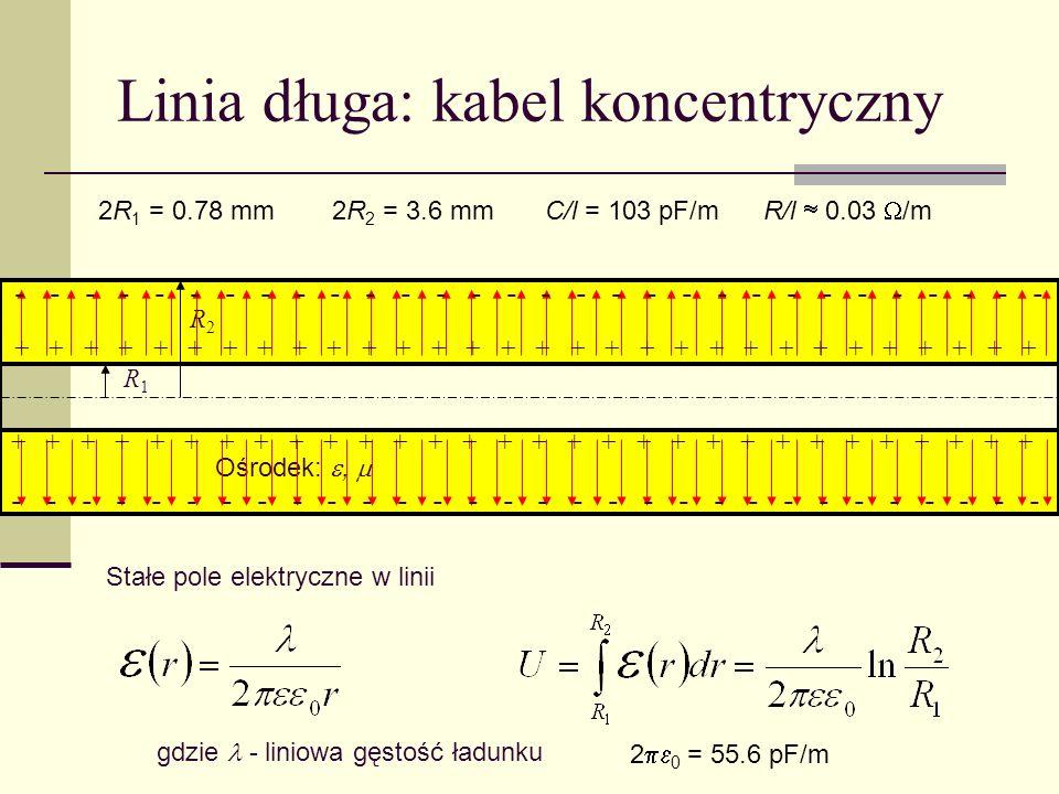 Linia długa: kabel koncentryczny R1R1 R2R2 Ośrodek:, Stałe pole elektryczne w linii gdzie - liniowa gęstość ładunku + + + + + + + + + + + + + + + - -