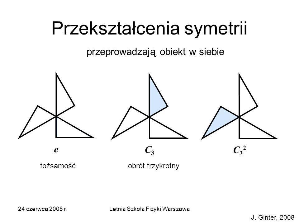 24 czerwca 2008 r.Letnia Szkoła Fizyki Warszawa Przekształcenia symetrii e C32C32 C3C3 tożsamośćobrót trzykrotny przeprowadzają obiekt w siebie J. Gin
