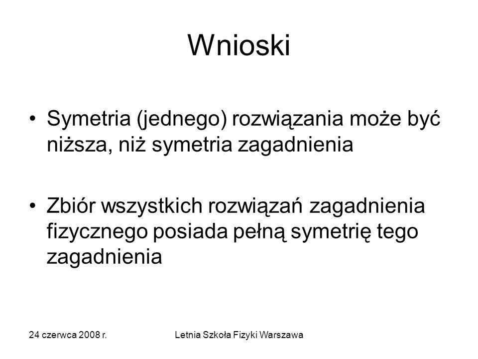 24 czerwca 2008 r.Letnia Szkoła Fizyki Warszawa Wnioski Symetria (jednego) rozwiązania może być niższa, niż symetria zagadnienia Zbiór wszystkich rozw