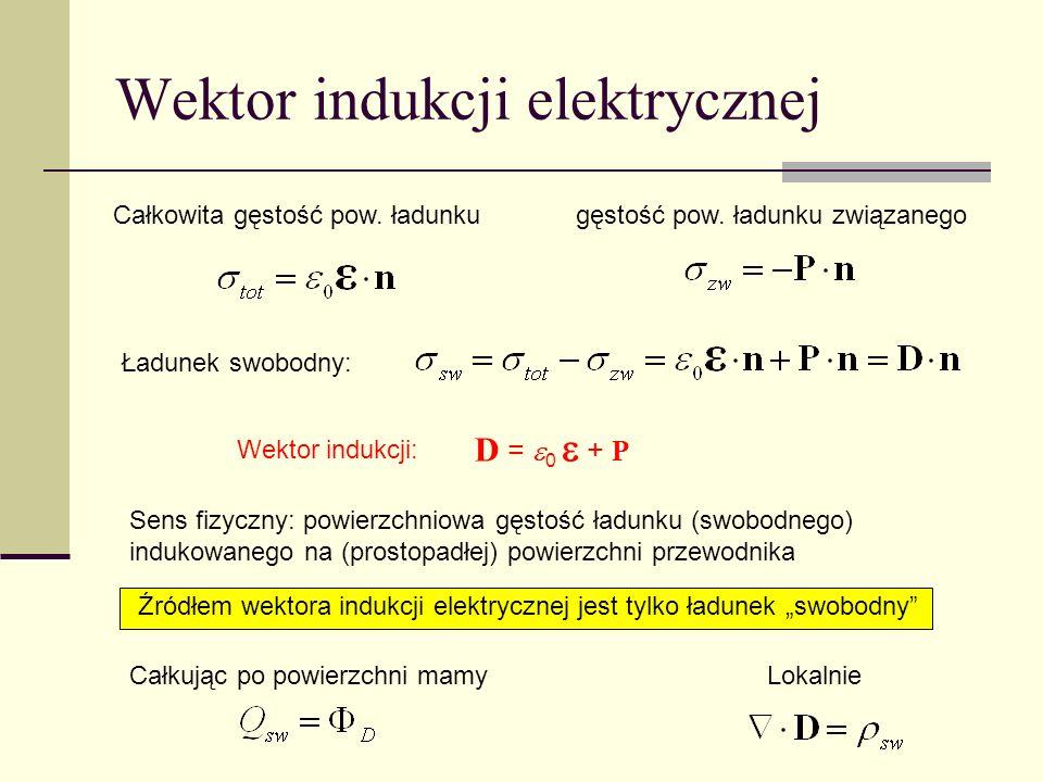 Wektor indukcji elektrycznej Sens fizyczny: powierzchniowa gęstość ładunku (swobodnego) indukowanego na (prostopadłej) powierzchni przewodnika Całkowi