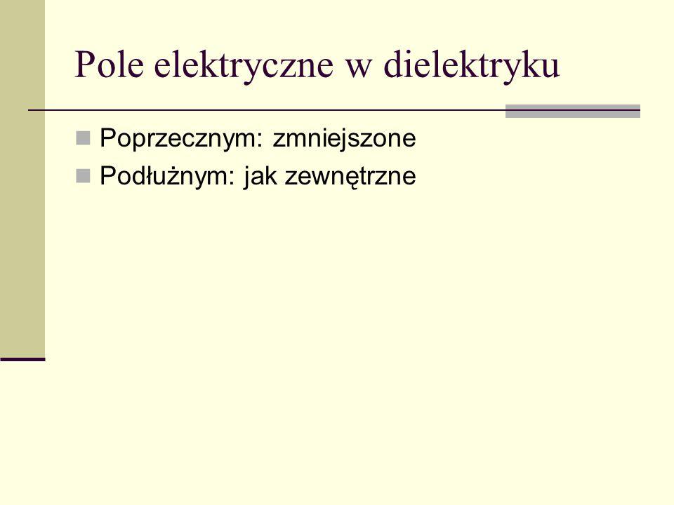 Pole elektryczne w dielektryku Poprzecznym: zmniejszone Podłużnym: jak zewnętrzne