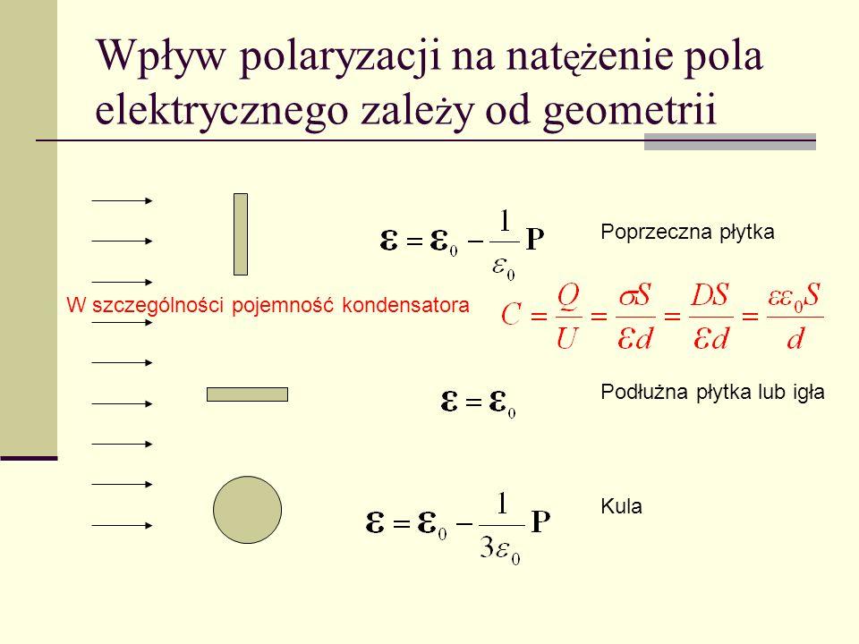 Wpływ polaryzacji na nat ęż enie pola elektrycznego zale ż y od geometrii Poprzeczna płytka Podłużna płytka lub igła Kula W szczególności pojemność ko