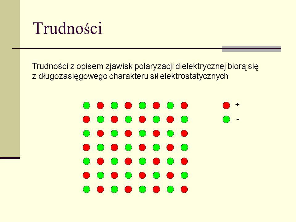 Trudno ś ci Trudności z opisem zjawisk polaryzacji dielektrycznej biorą się z długozasięgowego charakteru sił elektrostatycznych + -